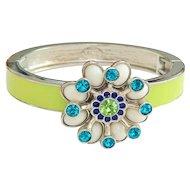 LIA SOPHIA - Lime Green on Silvertone Stretch Bracelet with a Pretty Rhinestone and Beaded Flower