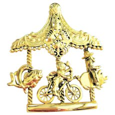 SUMMER SALE- AJC -  Carousel Merry-Go-Round Goldtone Pin Brooch