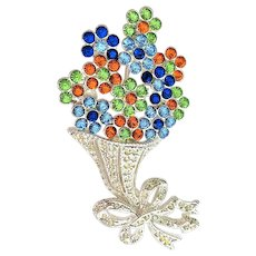 SUMMER SALE- NAPIER signed Flower Bouquet Silvertone Pin Brooch with Pretty Colorful Rhinestones