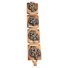 DRAGON Wide Copper Linked Bracelet with Detailed Dragon Design