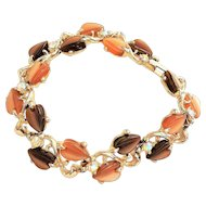 REDUCED- Brown Leaves Designed Silvertone Bracelet with Pretty Rhinestone Accents