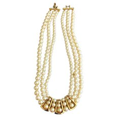 REDUCED- Multi Strand Faux Pearl Necklace with Goldtone Front Design