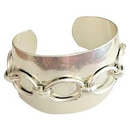 Southwestern Silvertone Wide Cuff Bracelet with Front Chain Design