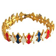 REDUCED- Red , White and Blue on Goldtone Bracelet with Security Chain