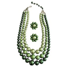 REDUCED- Multi Strand Green Faux Pearl Necklace with Matching Clip-On Earrings