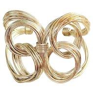REDUCED- Wide Wire Butterfly Silvertone Cuff Bracelet