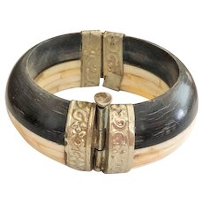 REDUCED- Hinged Carved Bone with Silvertone Bracelet with Push Pin Lock