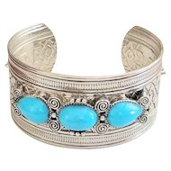 Southwestern Design Silvertone Wide Cuff Bracelet with Pretty Turquoise Color Accents