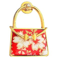 Cute Purse Red Enameled and Goldtone Pin with Pretty White Flowers