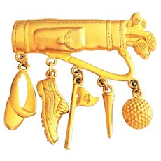 JJ  signed  Very Nice Golf Bag Goldtone Pin Brooch with Golf Ball, Tee and Golf Hat Charms