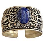REDUCED- Southwestern Design Silvertone Cuff Bracelet with Pretty Blue Stone Accent