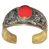 REDUCED- Southwestern Design Silvertone Cuff Bracelet with Pretty Red Accent