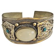 REDUCED- Southwestern Design Silvertone Cuff Bracelet with Pretty White Center and Turquoise Accents