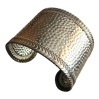 Wide Silvertone Cuff  Bracelet with Hammered Look Design
