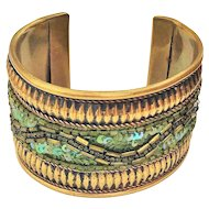 Brass Wide Cuff Bracelet with Pretty Green Beads and Sequins