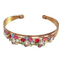 REDUCED- Multi Wire Goldtone Cuff Bracelet with Pretty Colorful Flower Rhinestones