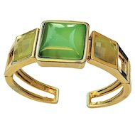 REDUCED- Goldtone Cuff Bracelet with Pretty Green Bead Accents