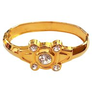 REDUCED- Hinged Goldtone Bracelet with Pretty Sparkling Rhinestones