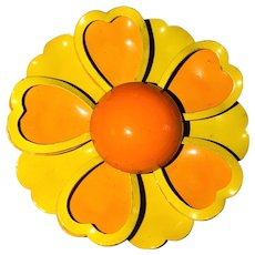 Enameled Yellow Flower Pin Brooch with Pretty Orange Accents