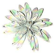 Enameled White Flower Pin Brooch with Pretty Reflective Paint