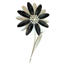 Enameled Large White Flower Pin Brooch with Pretty Black Accent Petals
