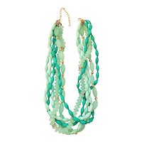 Multi Strand  Sea Foam Color Beaded Necklace with Pretty Goldtone Bead Accents