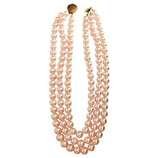 Beautiful Three Strand Pastel Pink Faux Pearl Necklace