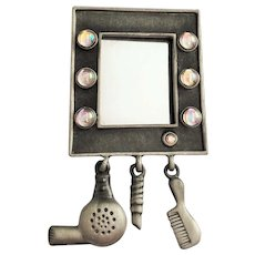 AJC signed Hair Dresser Mirror Silvertone Pin Brooch with Pretty Charms