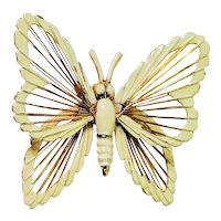 MONET signed Goldtone and White Butterfly Pin Brooch with Pretty Lace Look Wings