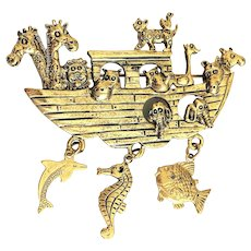 Beautiful  Noah's Ark Goldtone Pin Brooch with Pretty Charms