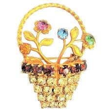 Rhinestone Basket of Flowers Goldtone Pin Brooch with Colorful Rhinestone Flowers