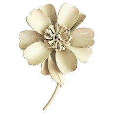 Beautiful Enameled White Flower Pin Brooch
