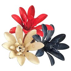 Enameled Red , White and Blue Three Flower Cluster Pin Brooch