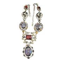 ZARA signed  Amazing Sparkling Glass Silvertone Necklace with Sparkling Rhinestones