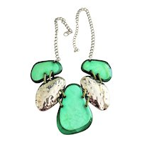 2 PIECE SET - Necklace and Bracelet Set -Green and Silvertone Bib Front Necklace with Matching Bracelet