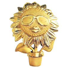 AJC  signed  Cool Flower with Sunglasses in a Flower Pot Goldtone Pin Brooch with Music Box on the Back