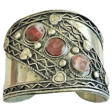 Beautiful Wide Silvertone Cuff Bracelet with Pretty Brown Marbles Stones