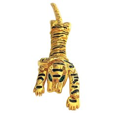 Moving Tiger Goldtone with Black Stripes Pin Brooch with Pretty Green Rhinestone Eyes