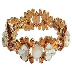 Amber and Clear Rhinestone Flower Stretch Bracelet with Pretty Moon Glow Beaded Accents