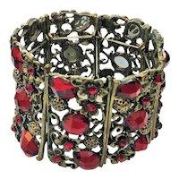 Wide Flower Stretch Bracelet with Pretty ruby Red Rhinestones