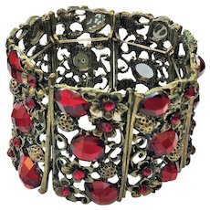 Wide Victorian Look  Flower Stretch Bracelet with Pretty ruby Red Rhinestones