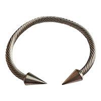 PRETTY-Multi Wire Twist Silvertone Cuff Bracelet with Arrowhead Ends
