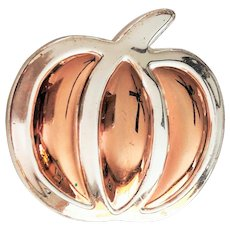 BEST signed Cute Pumpkin Silvertone and Goldtone Pin Brooch and Pendant