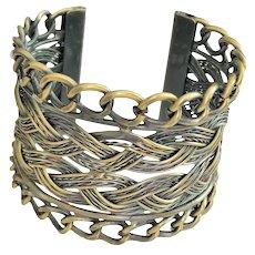 REDUCED- Wide Brass Cuff Bracelet with Open Weaved Design