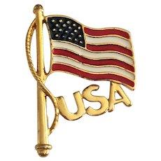 SALE - Enameled American Flag Goldtone Pin Brooch