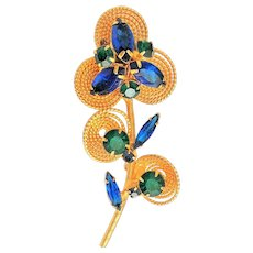 Beautiful Goldtone Flower Cluster Brooch with Royal Blue and Green Rhinestones