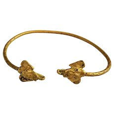 Brass Cuff Bracelet with Elephant Heads on Each End