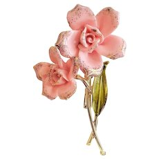 CORO signed Ceramic Pink Flower Goldtone Pin Brooch
