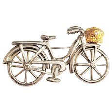 Cute Silvertone Bicycle Pin Brooch with Goldtone Basket