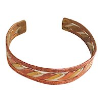 SALE  Southwestern Designed Copper  , Brass and Silver Cuff Bracelet
